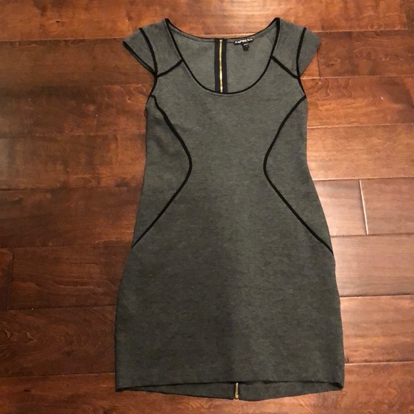 Express Dresses Nwot Grey And Black Piped Bodycon Dress Poshmark